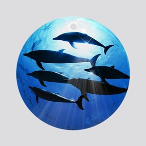 Porpoises in the Ocean with Sun Ray Round Ornament