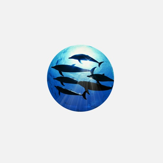 Porpoises in the Ocean with Sun Rays S Mini Button