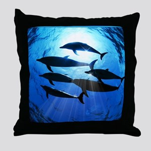 Porpoises in the Ocean with Sun Rays  Throw Pillow