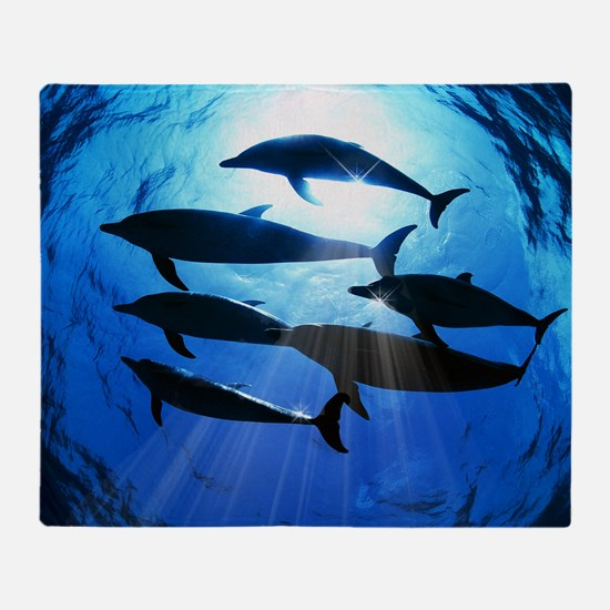 Porpoises in the Ocean with Sun Rays Throw Blanket