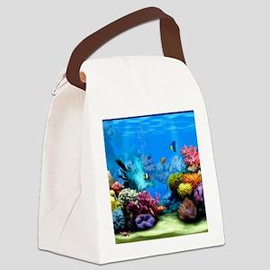 Tropical Fish Aquarium with Brigh Canvas Lunch Bag