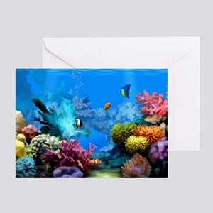 Tropical Fish Aquarium with Bright C Greeting Card