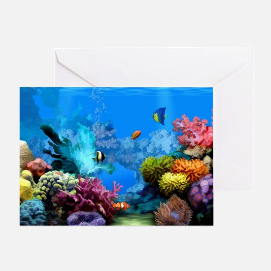 Tropical Fish Aquarium with Bright C Greeting Card