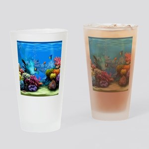 Tropical Fish Aquarium with Bright  Drinking Glass