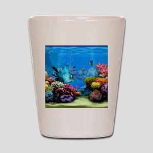 Tropical Fish Aquarium with Bright Colo Shot Glass
