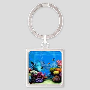 Tropical Fish Aquarium with Bright Square Keychain