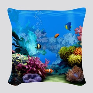 Tropical Fish Aquarium with Br Woven Throw Pillow