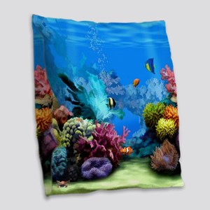 Tropical Fish Aquarium with Br Burlap Throw Pillow