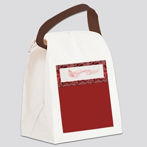 Red Singing Butterfly Canvas Lunch Bag