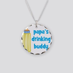 Papas Drinking Buddy Necklace Circle Charm