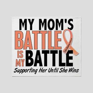 My Battle Too Mom Uterine Cancer Throw Blanket