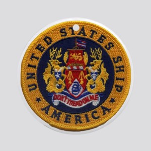uss america patch transparent Round Ornament