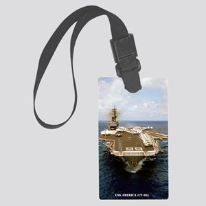 uss america cv small poster Large Luggage Tag