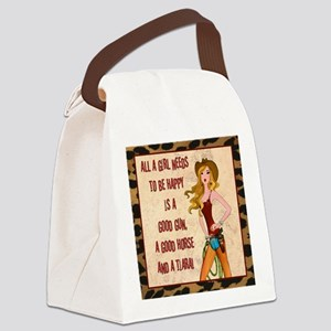 All A Cowgirl Needs Canvas Lunch Bag