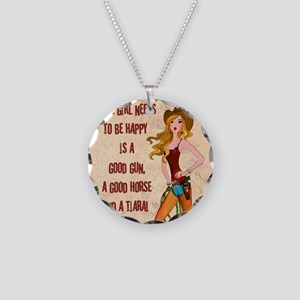 All A Cowgirl Needs Necklace Circle Charm