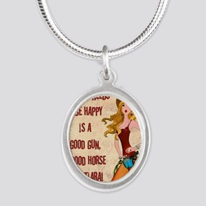 All A Cowgirl Needs Silver Oval Necklace