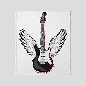 Winged Guitar Throw Blanket