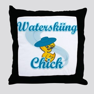 Waterskiing Chick #3 Throw Pillow
