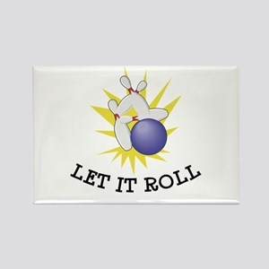 Let It Roll Bowling Rectangle Magnet