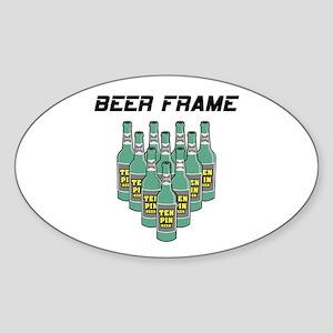 Beer Frame Bowling Oval Sticker