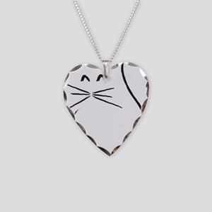 Kitty Cat Necklace Heart Charm