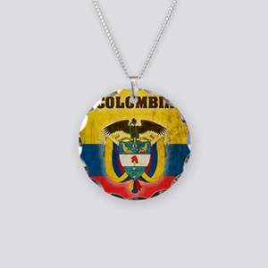 Vintage Colombia Necklace Circle Charm