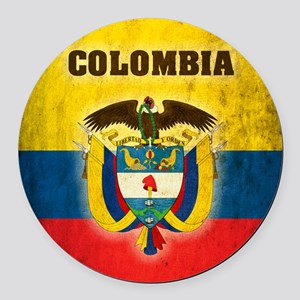 Vintage Colombia Round Car Magnet