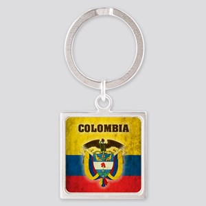 Vintage Colombia Square Keychain