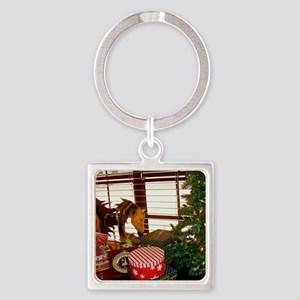 Home for the Holidays Square Keychain