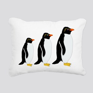 Penguin Parade Rectangular Canvas Pillow