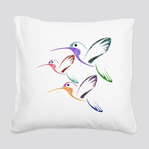 Patchwork Trio of Hummingbird Square Canvas Pillow