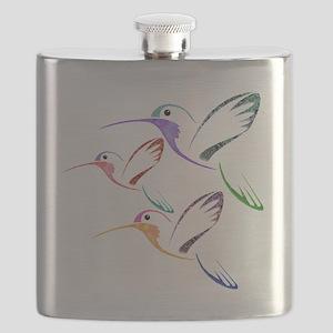 Patchwork Trio of Hummingbirds Flask