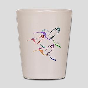 Patchwork Trio of Hummingbirds Shot Glass