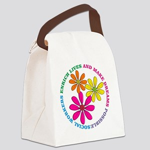 SOCIAL WORKER CIRCLE DAISIES Canvas Lunch Bag