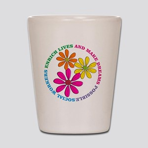SOCIAL WORKER CIRCLE DAISIES Shot Glass