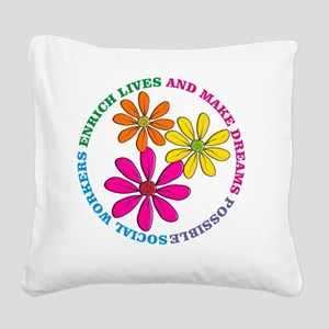 SOCIAL WORKER CIRCLE DAISIES Square Canvas Pillow