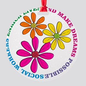 SOCIAL WORKER CIRCLE DAISIES Round Ornament
