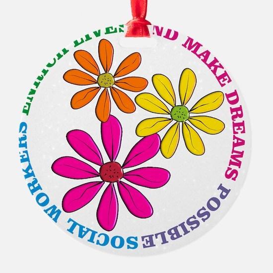 SOCIAL WORKER CIRCLE DAISIES Ornament