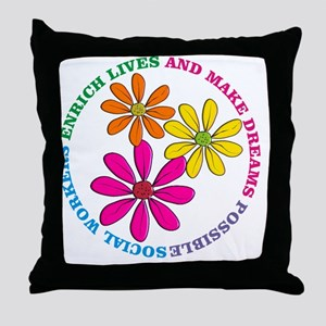 SOCIAL WORKER CIRCLE DAISIES Throw Pillow