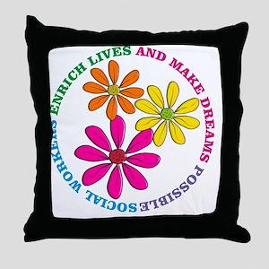 SOCIAL WORKER CIRCLE DAISIES Throw Pillow