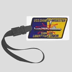 uss daniel webster patch transpa Large Luggage Tag