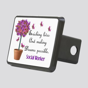 Social worker butterfly tr Rectangular Hitch Cover
