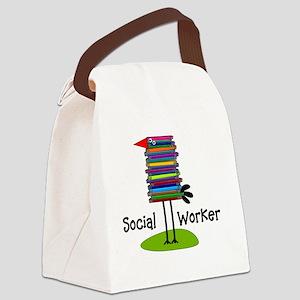 Social Worker Bird Books Canvas Lunch Bag