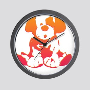 Pink and Orange Puppy Wall Clock