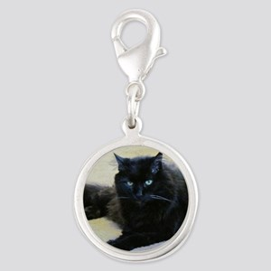 Black cat Silver Round Charm