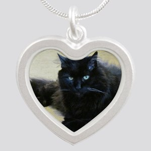 Black cat Silver Heart Necklace