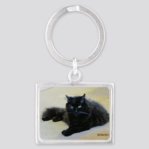 Black cat Landscape Keychain