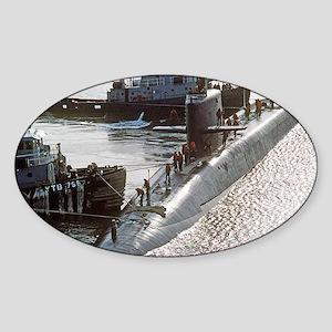 uss francis scott key large poster Sticker (Oval)