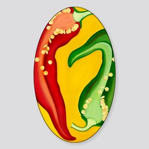 Two Chiles Sticker (Oval)