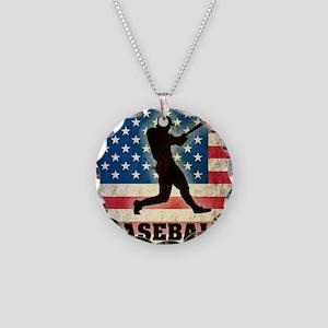 Grunge Baseball Necklace Circle Charm